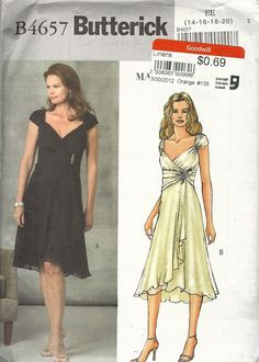 Butterick 4657 (sizes 14-20). Evening dress in two lengths has wrapped gathered front and sleeves, gathered middle section and flared skirt with shaped hemline (average difficulty). Suitable for chiffon, georgette, charmeuse, crepe back satin. Has lining. 2005. 69c at Goodwill.