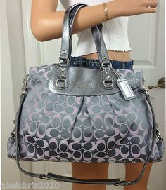 NWT COACH ASHLEY LARGE GRAY PINK PURPLE SIGNATURE CARRYALL SHOULDER BAG PURSE