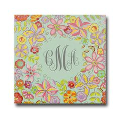 """24""""x24"""" hand painted blooming hue personalized canvas to decorate girl's room, art for girls, girl monogrammed art, flower art for girls"""