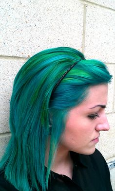 Green and blue dyed hair!