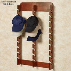 Wood Cap Display Wall Rack