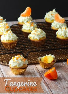 Simple and easy Tangerine Cupcake Recipe. For huge time savings, we just made this from a cake mix! Yummy and toddler approved, this is so tangy Cupcakes, Cupcake Cakes, Baby Cakes, Cupcake Recipes, Baking Recipes, Dessert Recipes, Baking Ideas, Cupcake Ideas, Just Desserts