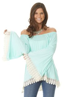 Top With Belled Sleeves And Crochet Trim