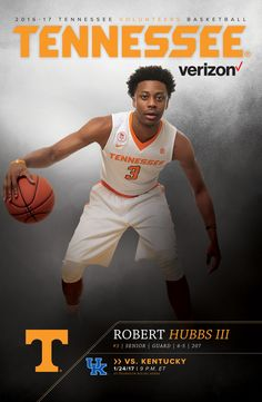 The Men's Basketball Roster Card vs. Kentucky features Robert Hubbs III on the cover. Vols Basketball, Go Vols, University Of Tennessee, Tennessee Volunteers, Kentucky, Athlete, School, Cover, Cards