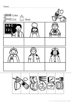 Meslekler Eslestirme Puzzle Calismalari Calisma Okul Oncesi Ve