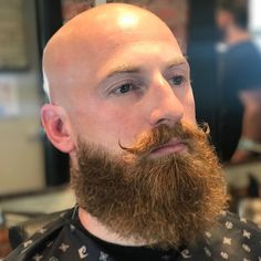 Shaved Head With Beard, Bald With Beard, Bald Men, Handlebar Mustache, Face Profile, Dapper Dan, Bald Heads, Beard Grooming, Moustaches