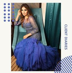 Blue is the only colour which maintains it's own character in all its tones. Our client @iamdeeptisadhwani wearing Royal blue metallic beaded gown by #LabelNikhita #fashionshow #fashionweek #fashiondesigner #designergowns