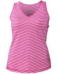 Clearance 4all by JoFit Ladies Sleek Striped Tank Tennis Shirts - Morocco (Raspberry Stripe)
