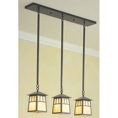 Arroyo Craftsman Savannah 3 Light Kitchen Island Pendant Finish: Antique Brass, Shade Color: Gold White Iridescent