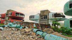 Sanzhi Pod City Taiwan. The Eerie Shazhi Pod City was built in 1978 on top of a burial ground for hundreds of 17th Century Dutch Soldiers and locals say its haunted.