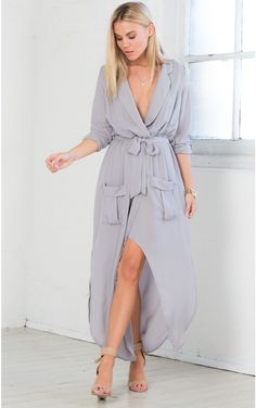 41fdba02da5 Keep Count Maxi Dress in Grey Ruched Dress