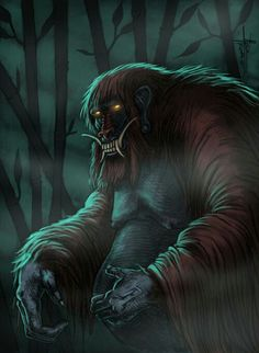 Genderuwo- Javanese myth: an ape-like creature that has thick fur, long fangs, red eyes, and the size of a titan. They usually dwell at the very deep part of the bamboo forest during night time. They also seem have very high interest toward women.