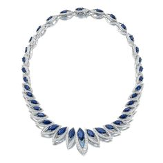 Petali D'Amore necklace with sapphires and diamonds set in 18k white gold.