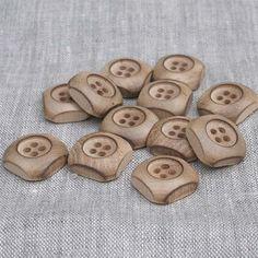Domed Square / Deep Recess Wood Button | HoneyBeGood
