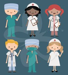 Nurse Doctor and Surgeon in Scrubs Clip Art by CollectiveCreation