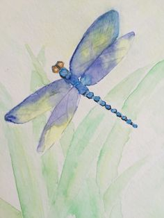 New ideas tattoo watercolor dragonfly how to paint Watercolor Pencil Art, Watercolor Water, Butterfly Watercolor, Easy Watercolor, Watercolor Animals, Watercolour Painting, Painting & Drawing, Watercolor Tattoo, Watercolor Hummingbird
