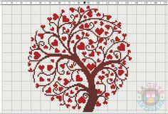 La Cute Artesana: Árbol de corazones en punto de cruz