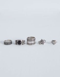 Ethnic stone five-finger ring set