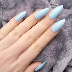 Doobys Stiletto Nails Baby Blue Gloss Gel Look 24 Claw Point False... ($21) ❤ liked on Polyvore featuring nails