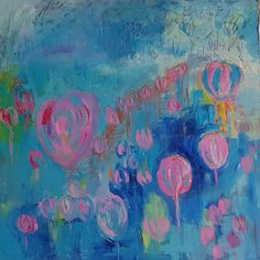 Pink kisses. This is a original oil on stretched canvas by British artist Lynn Keddie. 100cm x 100 cm it makes quite a statment in a room