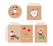 Brand identity merry Christmas disc with packaging, Envelope retro Royalty Free Stock Photo