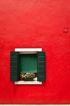 Burano in Red, Venice, Italy