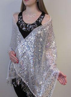 White Silvery Dressy Evening Shawl Wrap
