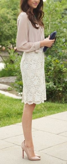 Ivory lace skirt for Sunday brunch. (Have this outfit in black, could do different colored shirts with black skirt)