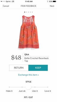Dear Stitch Fix Stylist - love the floral front and crochet back and hem!