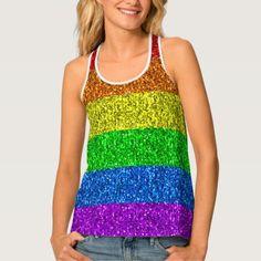 LGBT flag vibrant sparkles Tank Top - glitter glamour brilliance sparkle design idea diy elegant