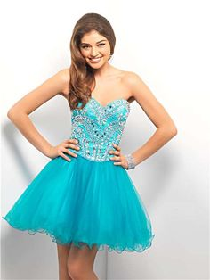 Aqua Beautifully Embellished Bodice Short Prom Dress - Unique Vintage - Cocktail, Pinup, Holiday & Prom Dresses.