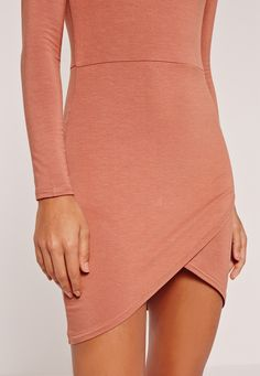 Missguided - Asymmetric Hem Long Sleeve Jersey Dress Brown