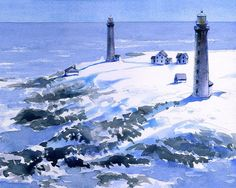 Cape Ann Lighthouses. Snow & surf on Thacher by BellaTerraArt