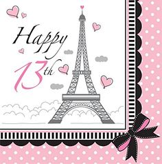 Party In Paris Happy 13th Birthday Lunch Napkins | 16 ct