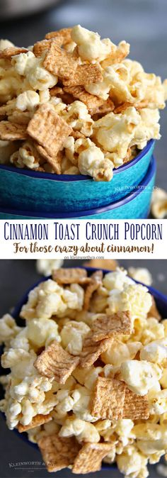 Cinnamon Toast Crunch Popcorn is the perfect easy dessert recipe for cinnamon lovers out there. So simple to make in just a couple minutes. via @KleinworthCo Flavored Popcorn, Gourmet Popcorn, Popcorn Recipes, Snack Recipes, Dessert Recipes, Popcorn Bar, Popcorn Snacks, Bacon Popcorn, Candy Popcorn