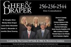 Ghee, Draper & Alexander Attorneys at Law is a long established and reputable Law Firm serving the Anniston, Oxford and Jacksonville Alabama area. When You need a Law Firm that's Respected, an Attorney that will Listen, and more importantly, a person that will UNDERSTAND your needs choose our law firm that will fight for you. http://www.gheedraper.com/