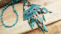 "boho necklace, Boho+Kette+Türkis+Amulett+""SeaGoddess""++von+★weibertraum★+auf+DaWanda.com"
