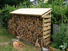 abri à bois en palette