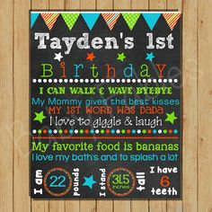1st Birthday Chalkboard Sign Digital Art Digital File DIY Birthday Stats Birthday Sign Baby Boy First Birthday Photo Prop