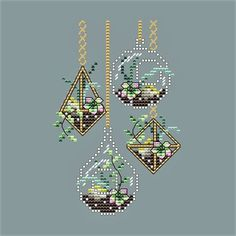 Hanging Succulents by Shannon Wasilieff of Shannon Christine Designs Stitch Count: by Materials: DMC, Kreinik, Mill Hill beads as listed Small Cross Stitch, Cute Cross Stitch, Cross Stitch Flowers, Cross Stitch Designs, Cross Stitch Patterns, Cross Stitching, Cross Stitch Embroidery, Mill Hill Beads, Nerd Crafts