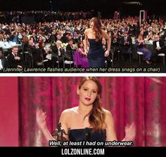 Jennifer Lawrence Flashes Audience When Her...#funny #lol #lolzonline