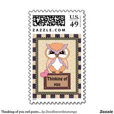 Thinking of you owl postcard stamp