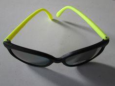 1 Fluro Sonnenbrille gelb verspiegelt Stil Goa Nerdbrille Brille neu UV