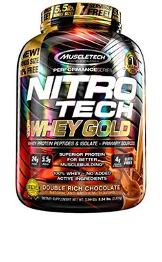 MuscleTech NitroTech Whey Gold 100 Whey Protein Powder Whey Isolate and Whey Peptides Double Rich Chocolate 55 Pound ** Click image for more details. (This is an affiliate link) #ProteinSportNutrition
