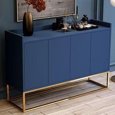 Modern Blue Buffet Sideboard Kitchen Sideboard Cabinet with 4 Doors in Gold Sideboard Dekor, Kitchen Sideboard, Rustic Sideboard, Sideboard Furniture, Modern Sideboard, Sideboard Cabinet, Furniture Makeover, Home Furniture, Furniture Design