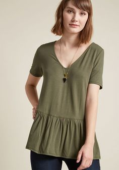 Just Effortless Peplum Top in Olive in XXS by ModCloth