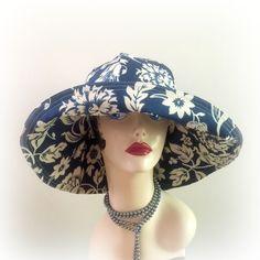 Women's Summer Sunhat Big Brim Sunhat Blue Beige Floral Cloche The Derby Floppy Brim Hat Beach Hat Wedding Hat Sun Protection Hat Handmade in the USA