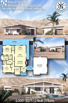 House Plan 871010NST gives you 2,000+ square feet of living space with 2 bedrooms and 2 baths. AD House Plan #871010NST #adhouseplans #architecturaldesigns #houseplans #homeplans #floorplans #homeplan #floorplan #houseplan Ranch House Plans, New House Plans, Dream House Plans, Modern House Plans, Dream Houses, French Doors Bedroom, Hall And Living Room, Open Concept Floor Plans, Beautiful Home Designs