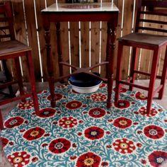 Floor cloth Painted Floor Cloths, Painted Rug, Painted Floors, Hand Painted, Repurposed Furniture, Painted Furniture, Diy Furniture, Ceiling Murals, Murals Street Art