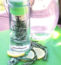 This is my absolute favorite water infusion. I drank this as a child and it was made by my Uncle Neal from St. Thomas. He has since deceased but this infusion recipe remains my favorite and I make it often. ENJOY!   Sage, Rosemary, Lemon Infusion Water  2 sage herb satchets 2 rosemary herb satchets ¼ lemon sliced  Put all ingredients in infusion basket. Let sit overnight (8 hours) in the fridge. Enjoy!  Optional: Add 1 packet of Truvia.
